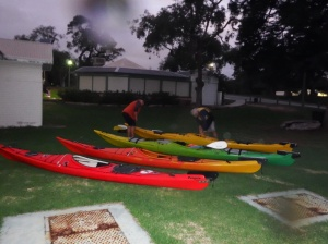 Hosing down boats after a good workout.